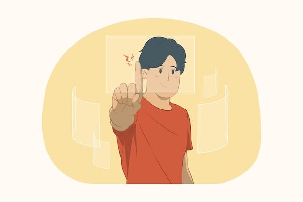 Jonge man wijzend op zwevend virtueel scherm concept