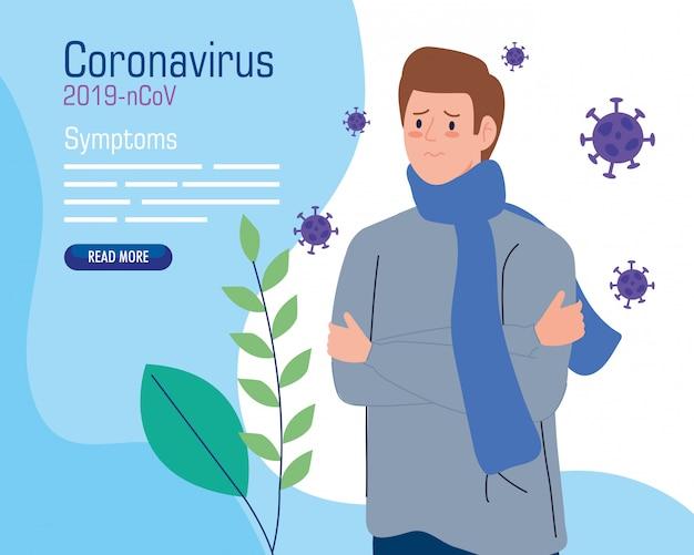 Jonge man ziek van coronavirus 2019 ncov