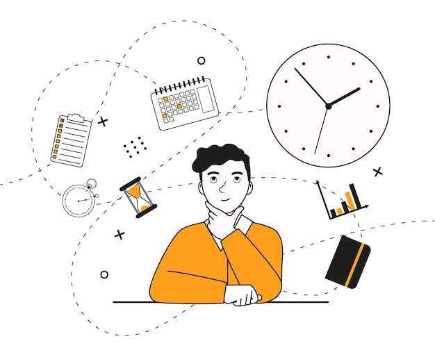 Jonge man zit en denkt na over het onderwerp timemanagement platte vectorillustratie