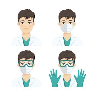 Jonge mannelijke arts die beschermende systemen draagt tegen infectieziekten