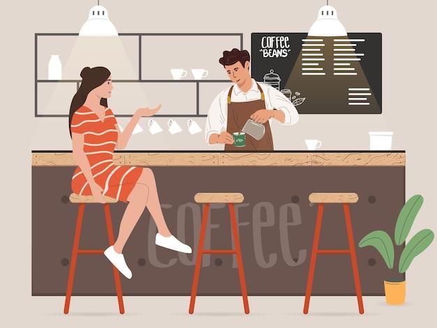 Jonge mannelijke barista die koffie maakt en met de klant praat