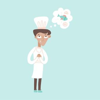Jonge mannelijke chef-kok dromen over het koken van een vis vector platte illustratie gelukkig kitchener in wit uniform genieten van zijn beroep geïsoleerd op blauwe grappige cartoon kok personeel