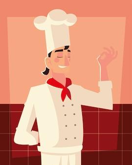 Jonge mannelijke chef-kok werknemer professioneel restaurant vectorillustratie