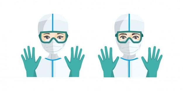 Jonge mannelijke en vrouwelijke artsen met hygiënische bescherming tegen ziekte.