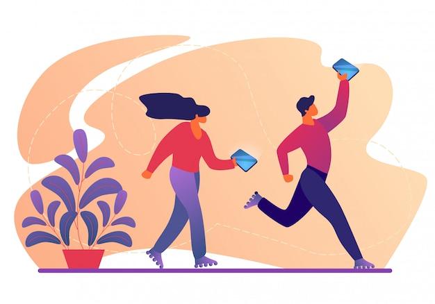 Jonge mannelijke en vrouwelijke personages lopen op rolschaatsen met smartphones in handen.