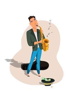 Jonge mannelijke jazz saxofonist in pak en hoed met geld geïsoleerd op wit.