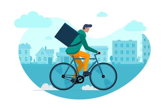 Jonge mannelijke koerier met rugzakdoos die fiets berijdt en goederen en voedselpakket op stadsstraat draagt. jonge kerel snelle fietsen eco levering bestelservice. vector eps illustratie