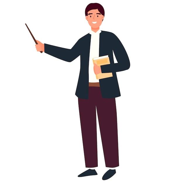 Jonge mannelijke leraar wijst erop. terug naar school. schattig karakter in een moderne stijl.
