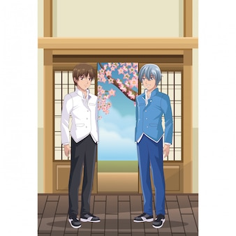Jonge mannelijke studenten anime