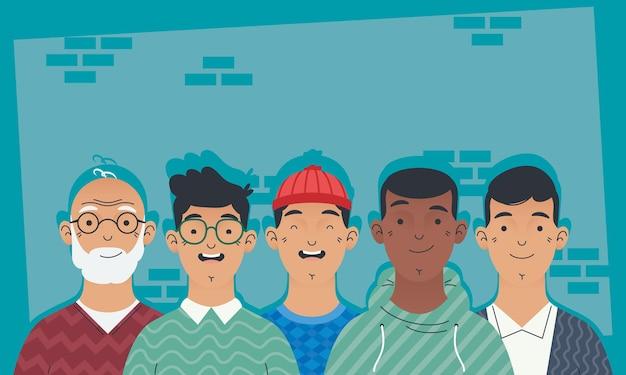 Jonge mannen avatars tekens pictogram