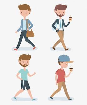 Jonge mannen die avatarskarakters lopen