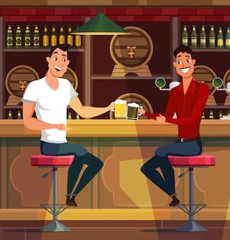 Jonge mannen die bier in pubillustratie drinken