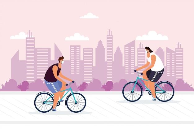 Jonge mannen die fiets berijden die medisch masker dragen