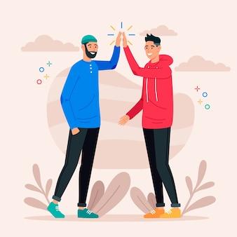 Jonge mannen die high five geven