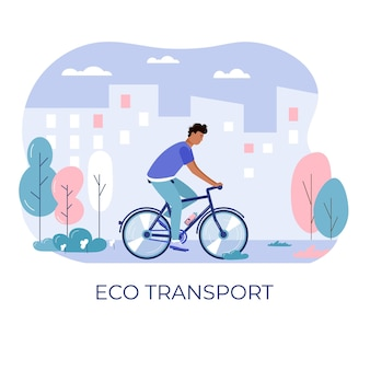 Jonge mannen en rijden fiets, eco stadsvervoer in openbaar park. persoonlijk elektrisch vervoer, groene fiets. ecologisch voertuig, stadslevenconcept
