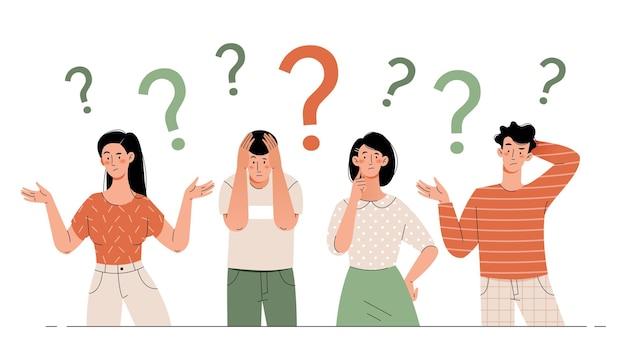 Jonge mannen en vrouwen denken. verbaasde en verwarde mensen met een vraagteken.