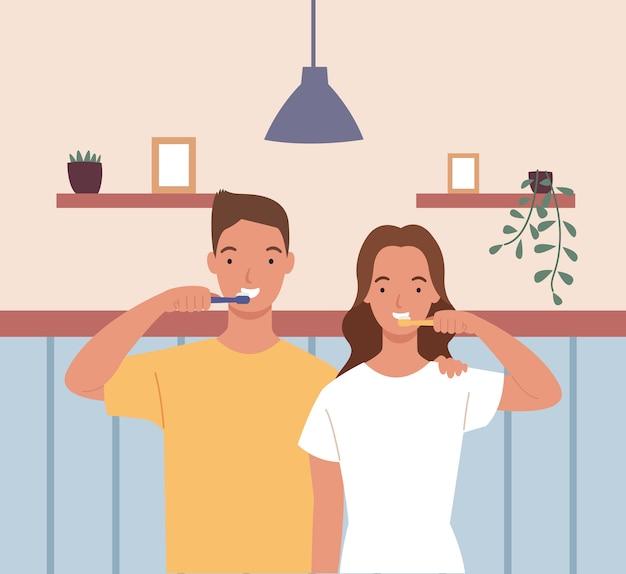 Jonge mannen en vrouwen of koppels poetsen samen tanden in de badkamer. illustratie in een vlakke stijl