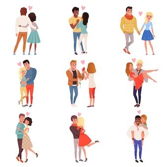 Jonge mannen en vrouwen tekens verliefd knuffelen set, gelukkig romantische liefdevolle paren cartoon