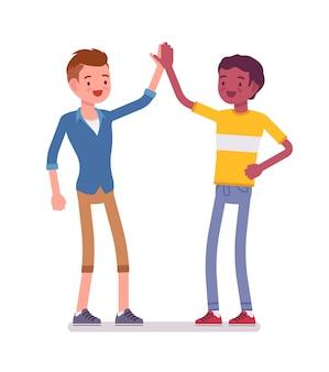 Jonge mannen geven high five