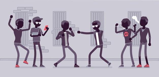 Jonge mannen in een gewelddadige straatstrijd