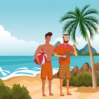 Jonge mannen in zomertijd cartoons