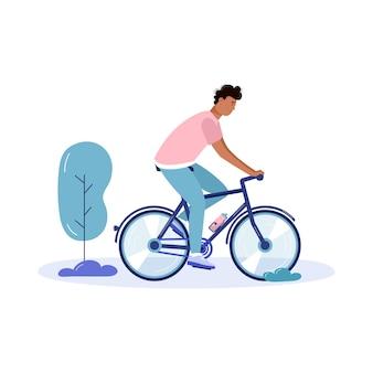 Jonge mannen lopen en rijden met de fiets, eco stadsvervoer in openbaar park. persoonlijk elektrisch vervoer, groene fiets. ecologisch voertuig geïsoleerd op wit
