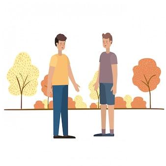 Jonge mannen met landschapsavatar karakter