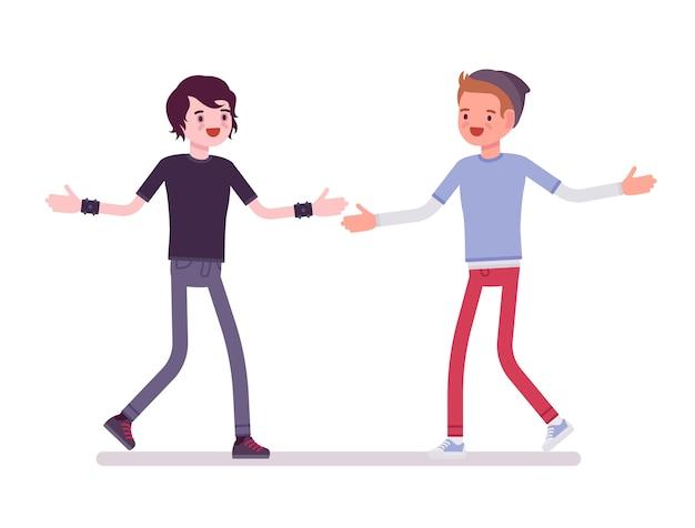 Jonge mannen ontmoeting met open handen