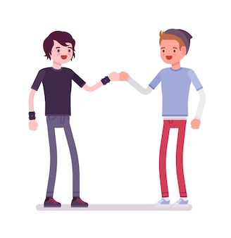 Jonge mannen vuist hobbel gebaar