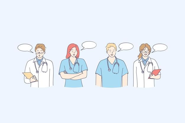 Jonge medische staf mensen stripfiguren staan en praten met tekstballonnen. dokter, chirurg, arts, paramedicus, verpleegster