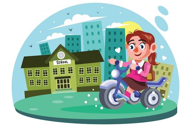 Jonge meisjes gaan naar school vectorillustratie