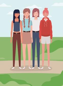 Jonge meisjes groeperen zich in de kampkarakters