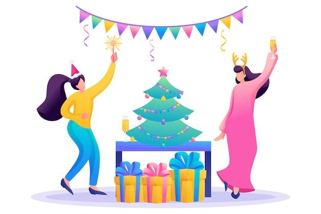 Jonge meisjes hebben plezier bij de kerstboom, drinken champagne.