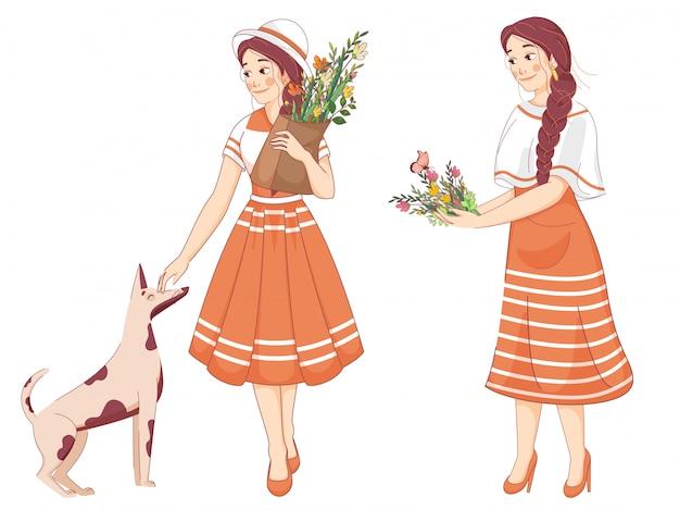 Jonge meisjes houden bloembos met vlinders en hond op wit