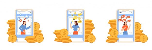 Jonge meisjes promoten persoonlijke pagina's en verdienen geld met bloggen.