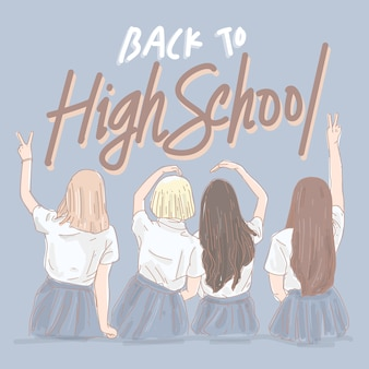 Jonge meisjes terug naar de middelbare school