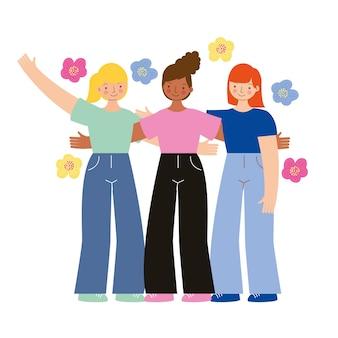 Jonge meisjes vieren vrouwendag tussen bloemen. illustratie