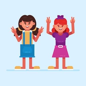 Jonge meisjes zwaaien hand illustratie