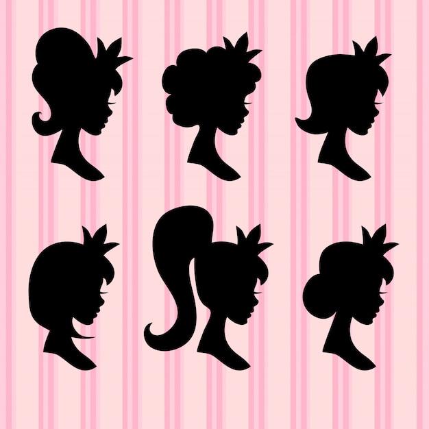 Jonge meisjesgezichten met kroon zwarte profielen
