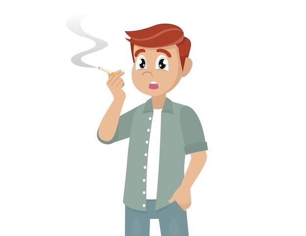 Jonge mens die een illustratie van de sigaret rookt
