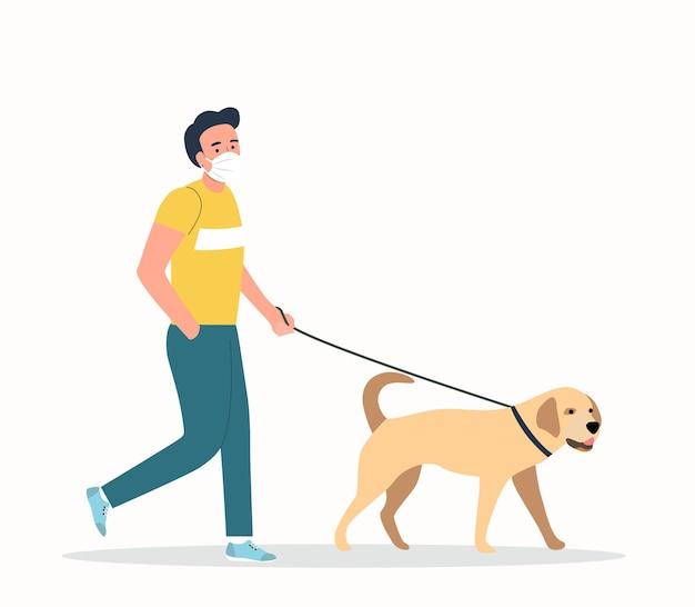 Jonge mens die gezichtsmaskers draagt die met geïsoleerde honden lopen. vector vlakke stijlillustratie