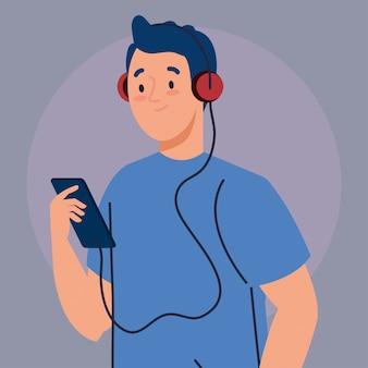 Jonge mens die hoofdtelefoons en het ontwerp van de smartphoneillustratie gebruiken