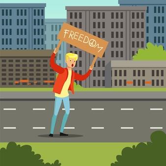 Jonge mens die met banner protesteren die om politieke vrijheids vlakke vectorillustratie eisen