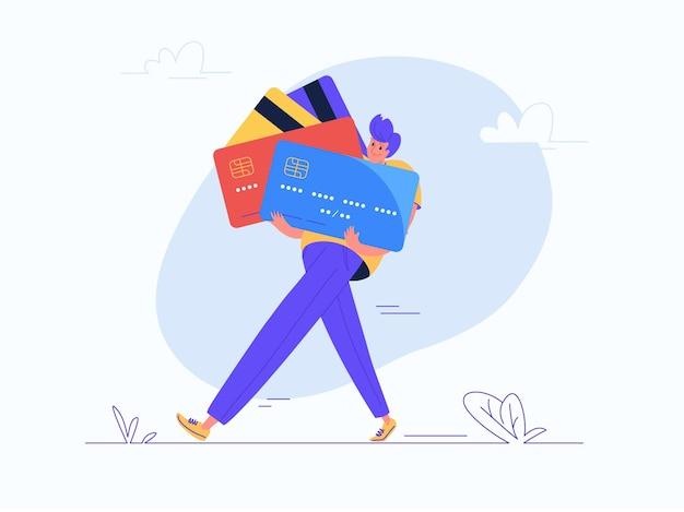 Jonge mens die wat zware creditcards draagt. platte moderne concept vectorillustratie van last van creditcards en bankkosten tijdens het leven. casual consument met plastic kaarten op witte achtergrond