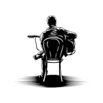 Jonge mens het spelen gitaar in de vector van de stoelillustratie