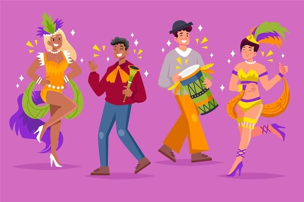 Jonge mensen dansen in carnaval