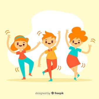 Jonge mensen dansen. personage ontwerp