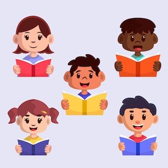 Jonge mensen die collectie lezen