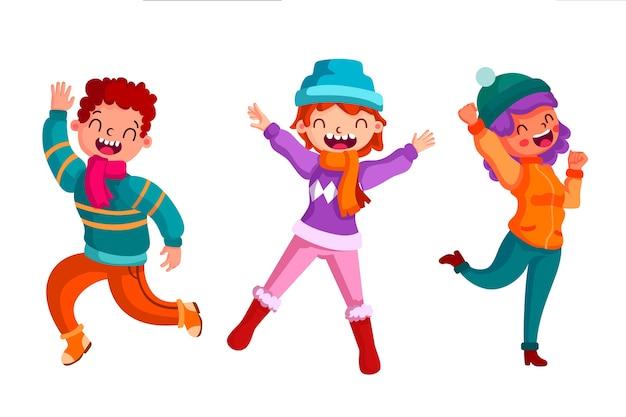 Jonge mensen die de winterkleren dragen die illustratiereeks springen
