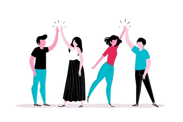 Jonge mensen die hoog vijf concept geven